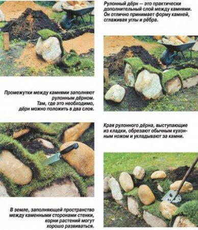 «Сухие» стенки из природных камней
