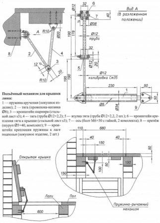 Механизм для поднятия люка погреба