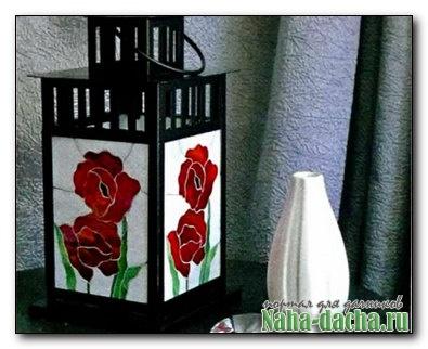 Садовый фонарь с мозаикой из витражного стекла