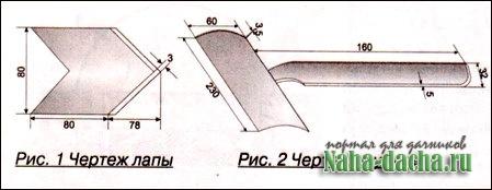 Трехлапый ручной культиватор