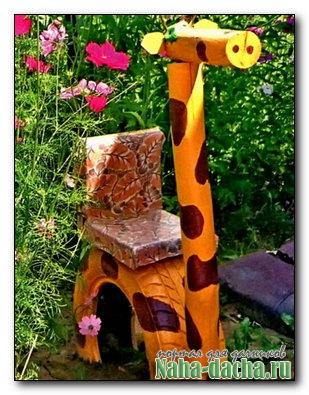Жираф из автомобильной покрышки для сада