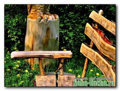 Поделки для дачи из остаток дров, обрезок бревен
