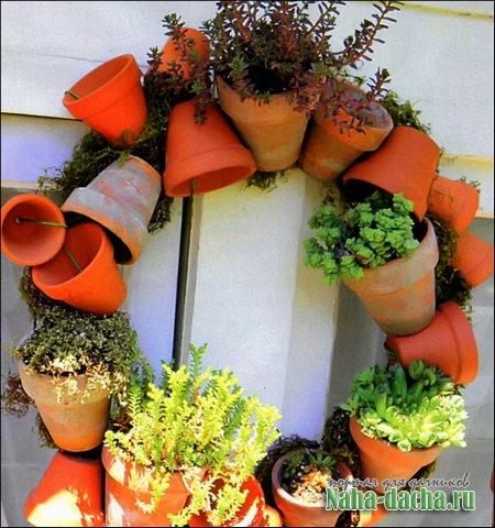 Горшок как садовый декор