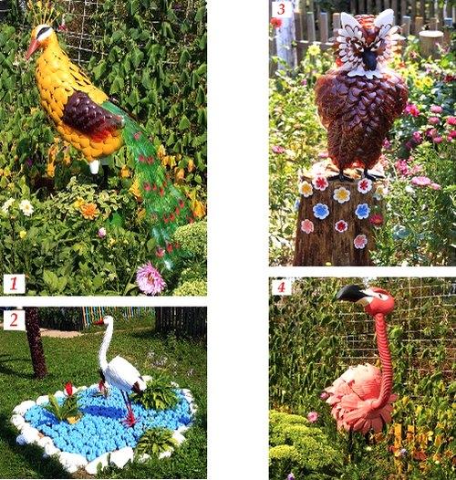 Экзотические птицы из пластиковых бутылок