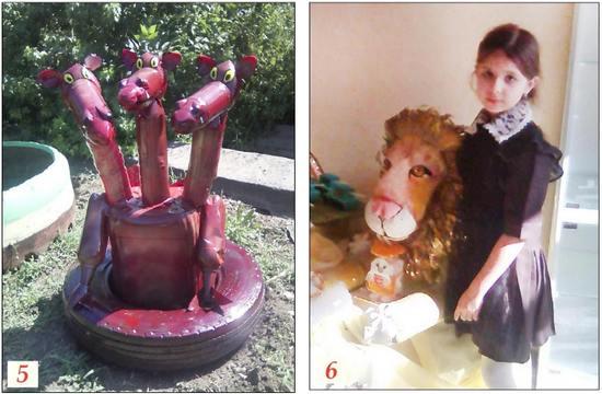 Садовые скульптуры из пластиковых бутылок