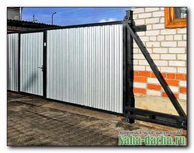 раздвижные ворота с калиткой