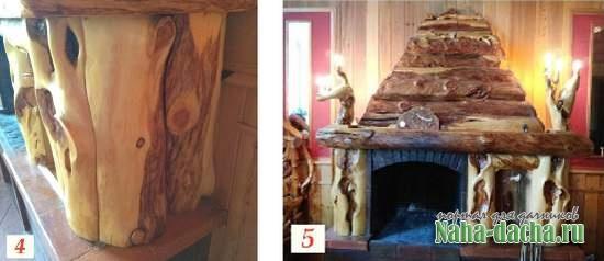 Камин с деревянной отделкой